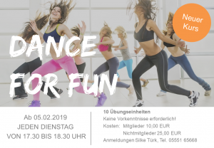 TSV Kursangebot Dance for fun Feb 2019